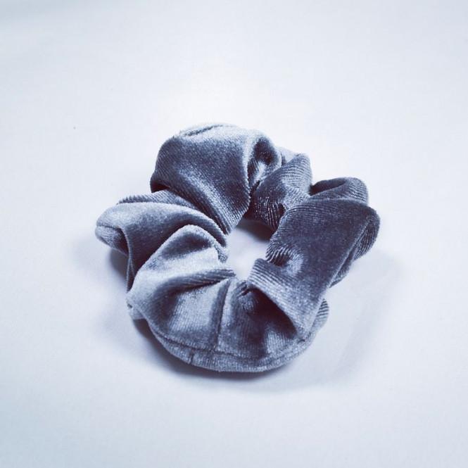 Scrunchie Velvet Dark Grey