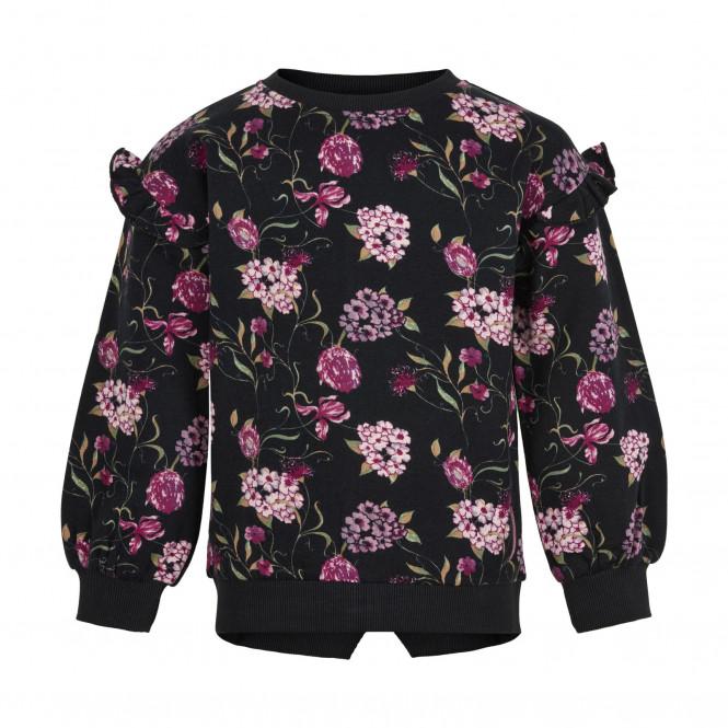 Sweatshirt Blommor Jet Black