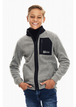 Sweat Cardigan Fleece Grey Melee