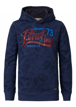 Sweater Hooded Petrol Blue